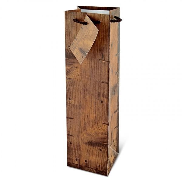 Holz Rustikal Tragetüte für 1 Flasche